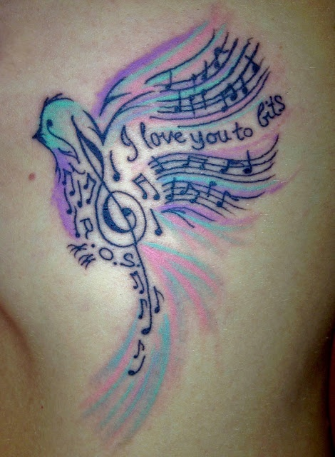 470x640 Colorful Bird's And Music Note Tattoo