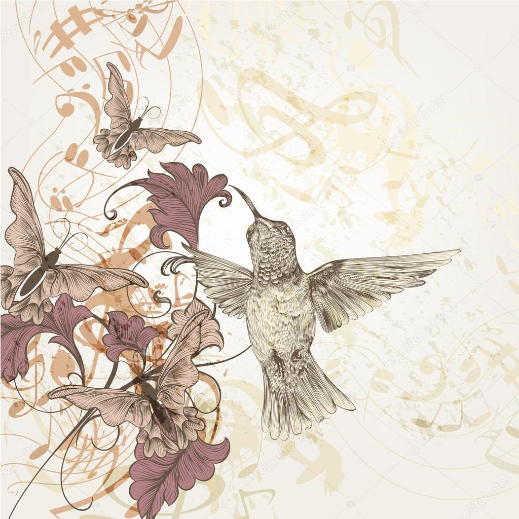 1024x1024 Floral Music Background With Humming Birds, Butterflies And Note