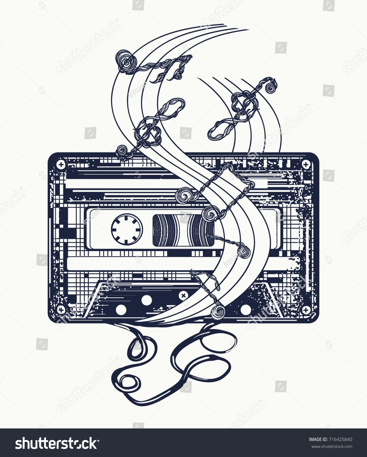 1286x1600 Audio Cassette And Music Notes Tattoo And T Shirt Design. Symbol
