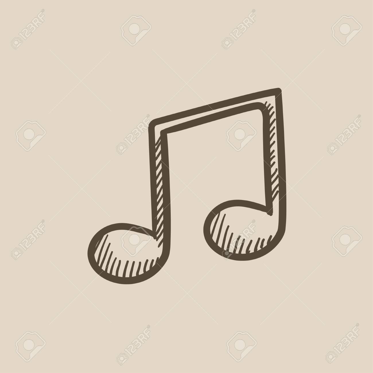 1300x1300 Music Note Vector Sketch Icon Isolated On Background. Hand Drawn