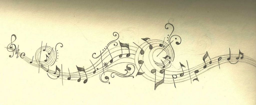 1024x421 Music Notes Drawings Minnon Cinta39s Music Notes