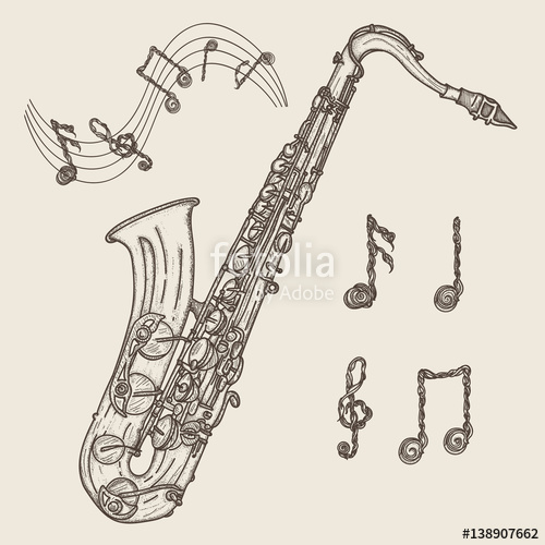 500x500 Saxophone and music notes, vintage hand drawn illustration