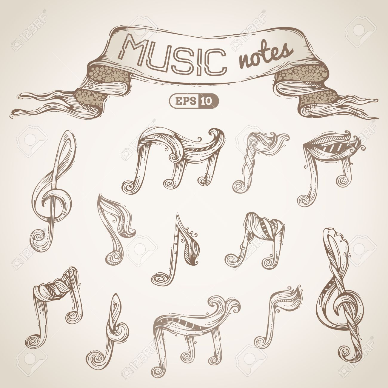 1300x1300 Vector Hand drawn Sketch. Music Notes And Treble Clefs. Royalty
