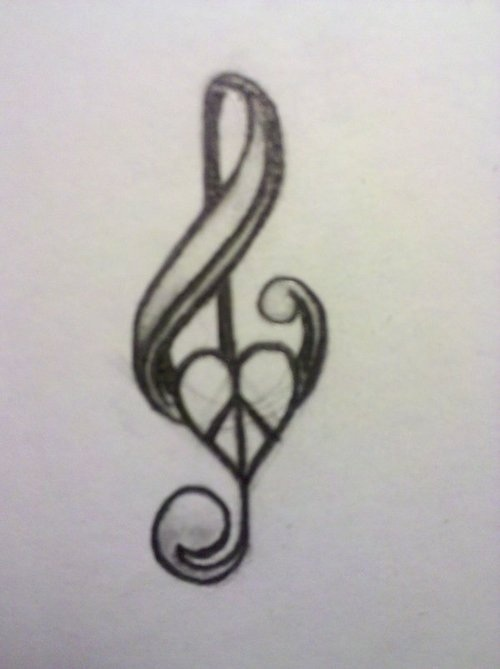 500x669 Music Note And Peace Sign Tattoo, Behind Ear