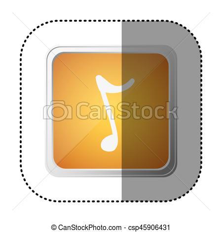 450x470 Yellow Symbol Music Sign Icon, Vector Illustration Design Vectors