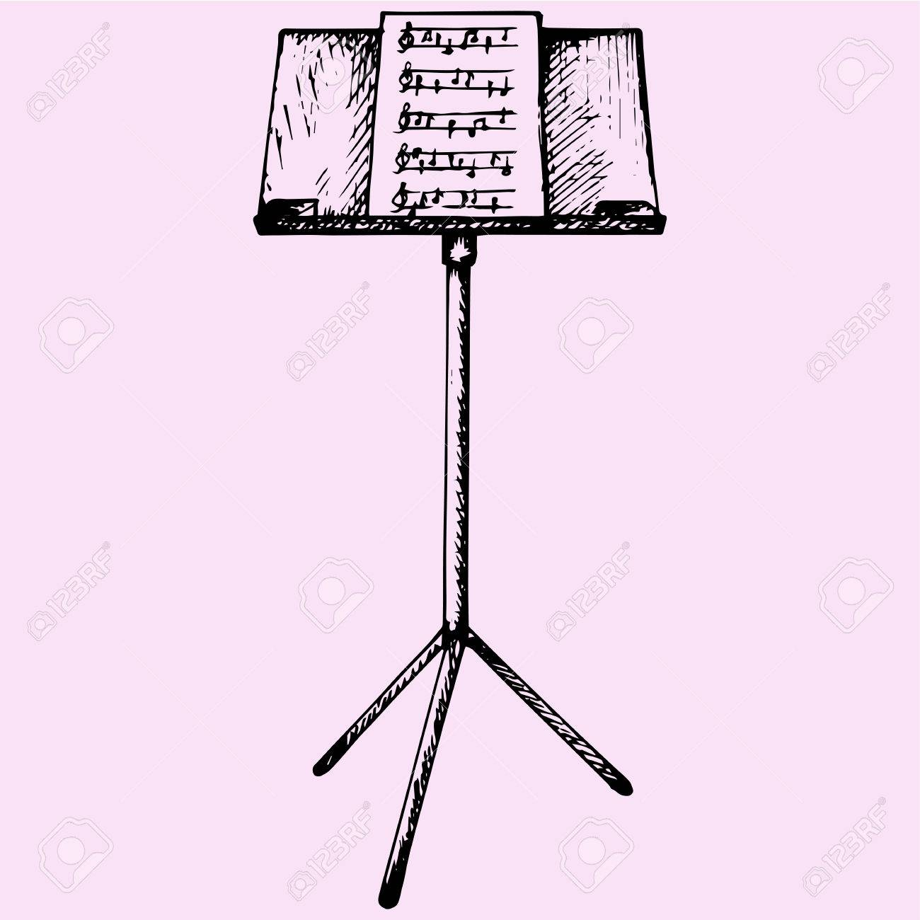 Music Stand Drawing At Getdrawingscom Free For Personal Use Music