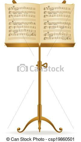269x470 Music Stand. Golden Stand With Music Sheet Vector Vector
