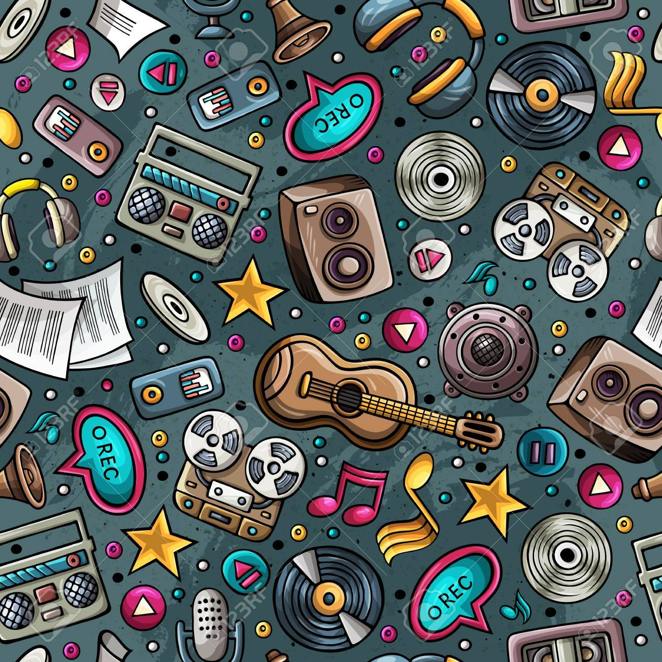 1300x1300 Cartoon Hand Drawn Musical Instruments Seamless Pattern. Lots