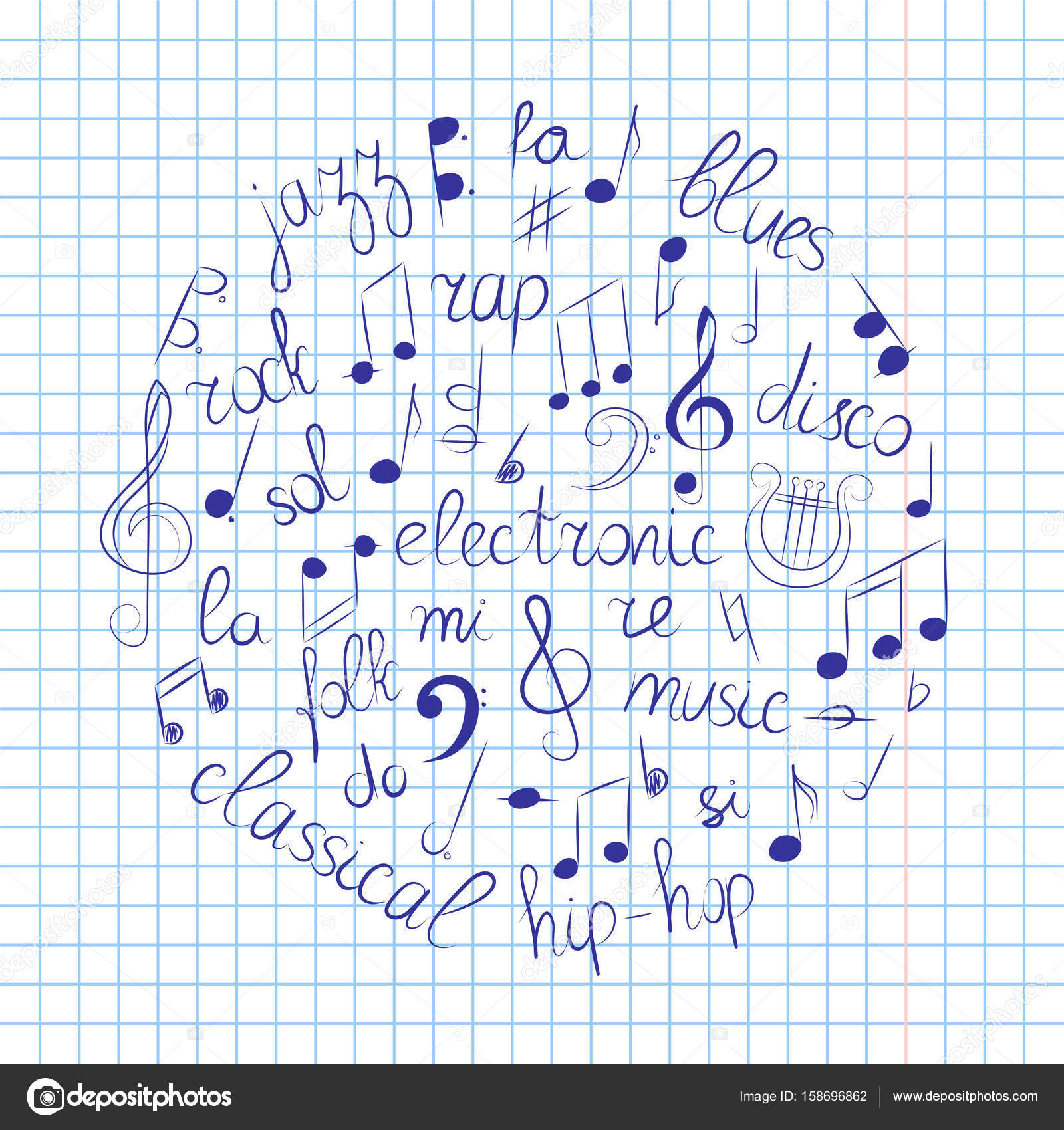 1600x1700 Hand Drawn Set Of Music Symbols. Doodle Treble Clef, Bass Clef