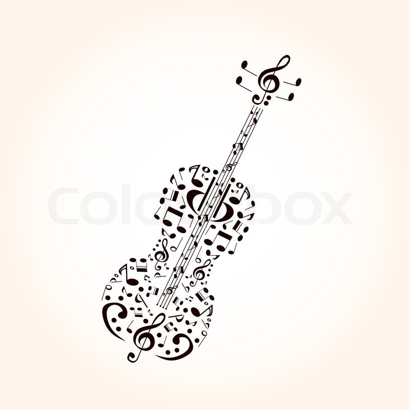 800x800 Music, Contrabass Concept Made With Musical Symbols Stock Vector