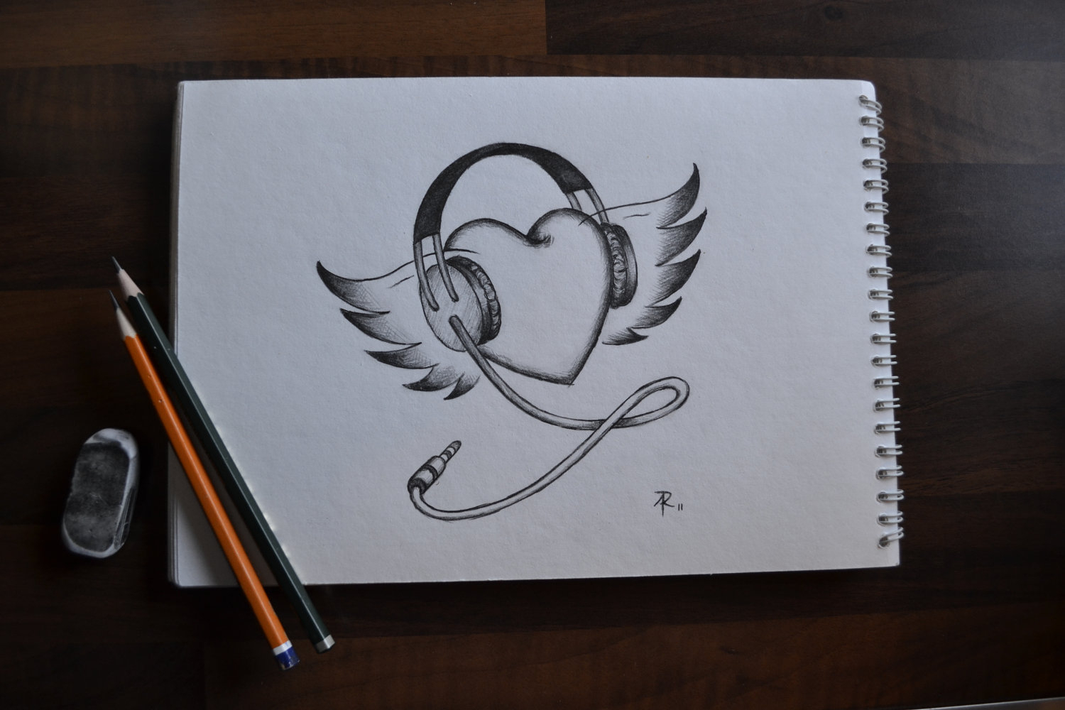 1500x1000 Drawings In Pencil Music Notes Crayon Sketched Illustration