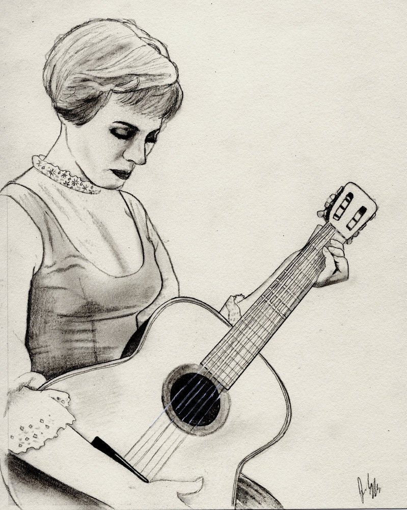 799x1001 Julie Andrews As Maria (Charcoal Drawing) By Julesrizz