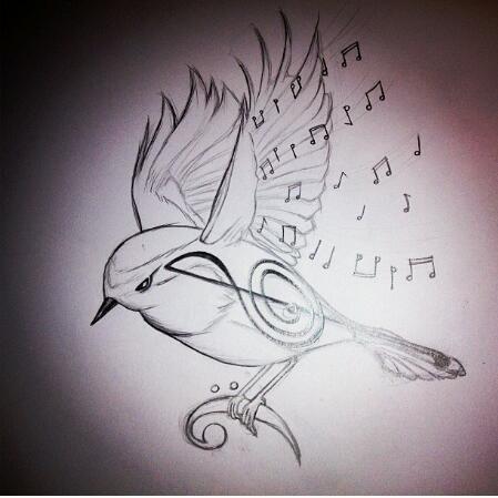 449x449 Musical Bird Drawing By Fericehippie95