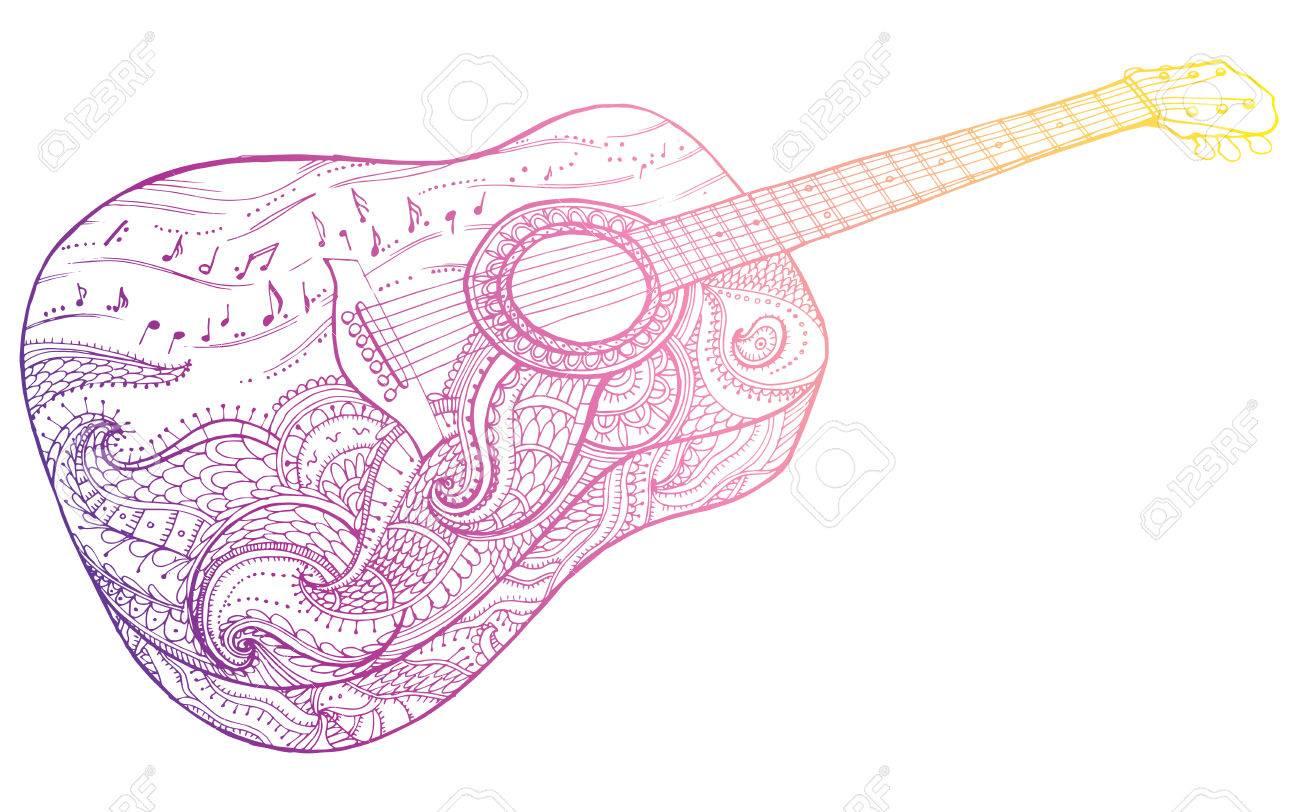1300x812 Stylized Classical Guitar. Retro Guitar. Musical Instrument