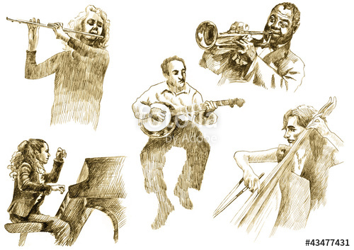 500x353 Musicians With Musical Instruments,drawings Converted To Vector