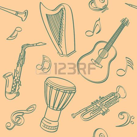 450x450 Folk Musical Instruments Drawing Set Royalty Free Cliparts