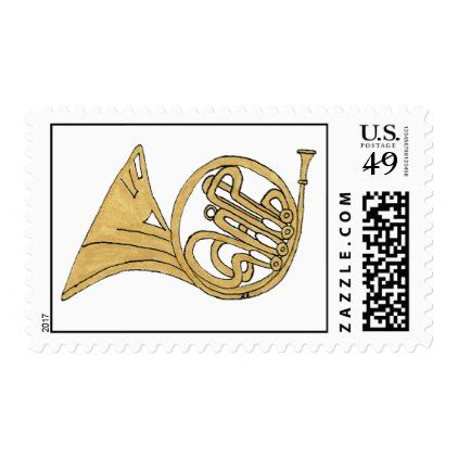422x422 French Horn Musical Instrument Drawing Postage