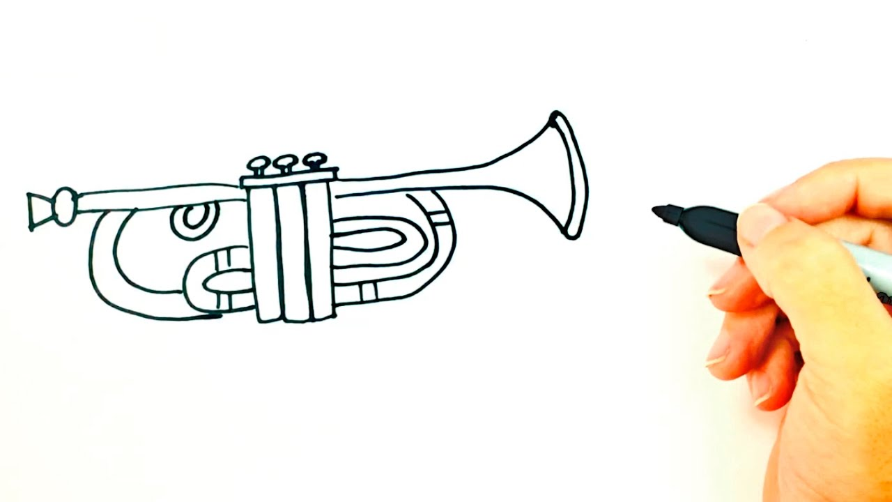 1280x720 How To Draw A Trumpet For Kids Trumpet Drawing Lesson Step By
