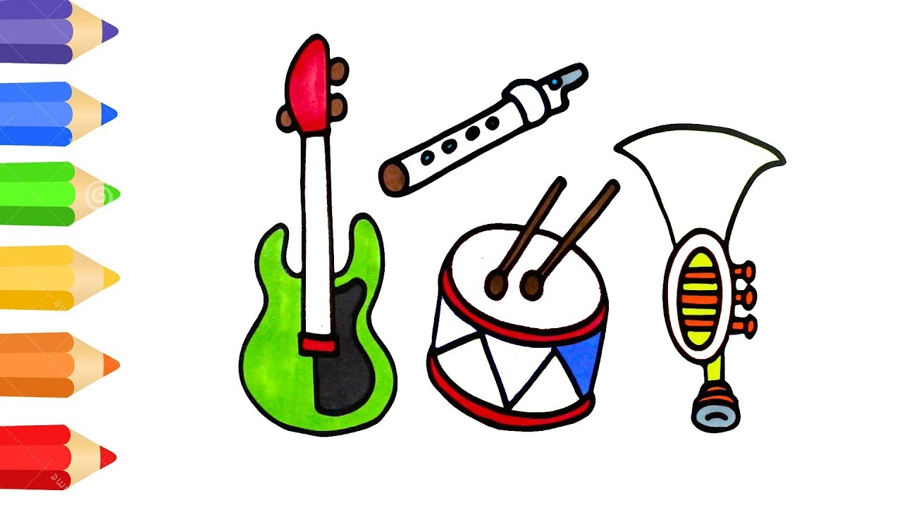 1280x720 How To Draw Musical Instrument Coloring Pages For Kids Art Colour