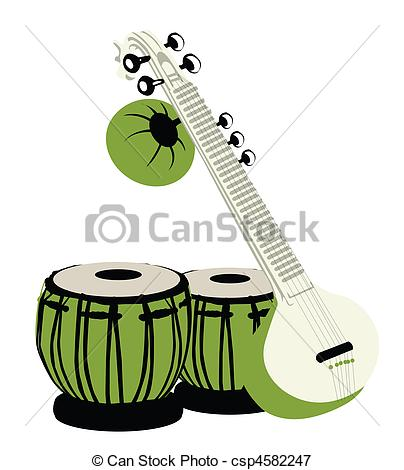 404x470 Indian Musical Instruments. Tabla And Sitar Stock Illustrations