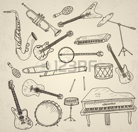 450x432 Hand Drawn Musical Instruments Set. Vector Illustration. Royalty