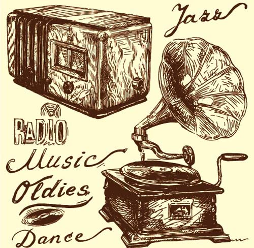 500x488 Hand drawn Vintage Musical instruments vector 04