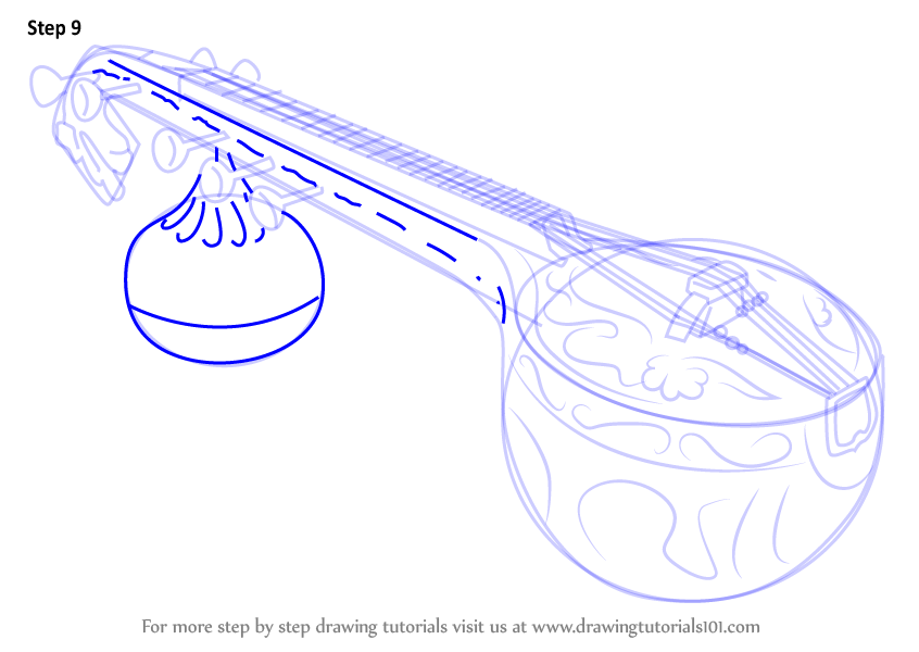846x600 Learn How To Draw A Veena (Musical Instruments) Step By Step