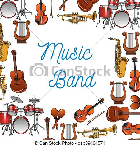 450x470 Musical Instruments Poster For Music Design. Musical Vectors