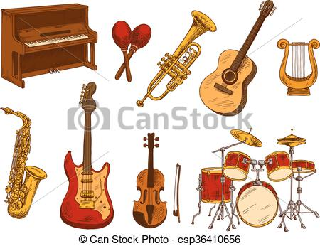 450x346 Retro Sketch Of Classical Musical Instruments. Classical