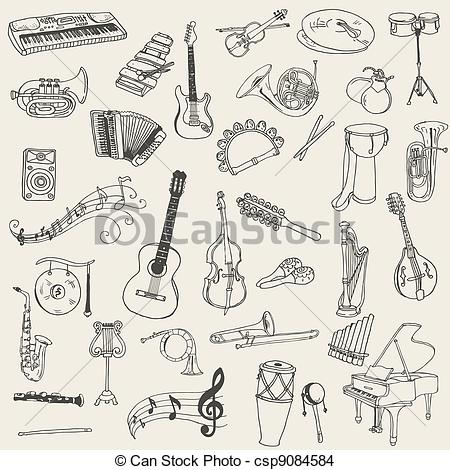 450x470 Line Drawings Of Musical Instruments On Kraft Paper For Back Wall