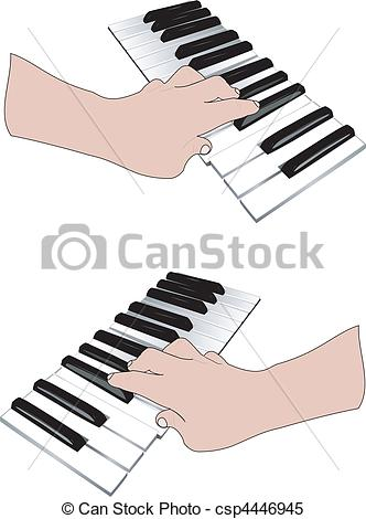 332x470 Hand And Music Keyboards. Two Hands Playing On The Musical