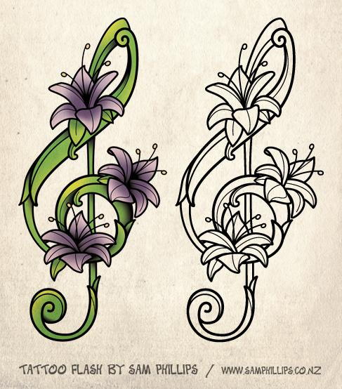 487x554 Flower Drawings For Tattoos Designed This Musical Note Tattoo