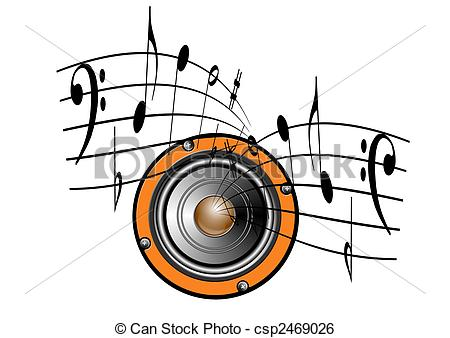 450x338 Speaker and music notes. An illustration of music notes stock