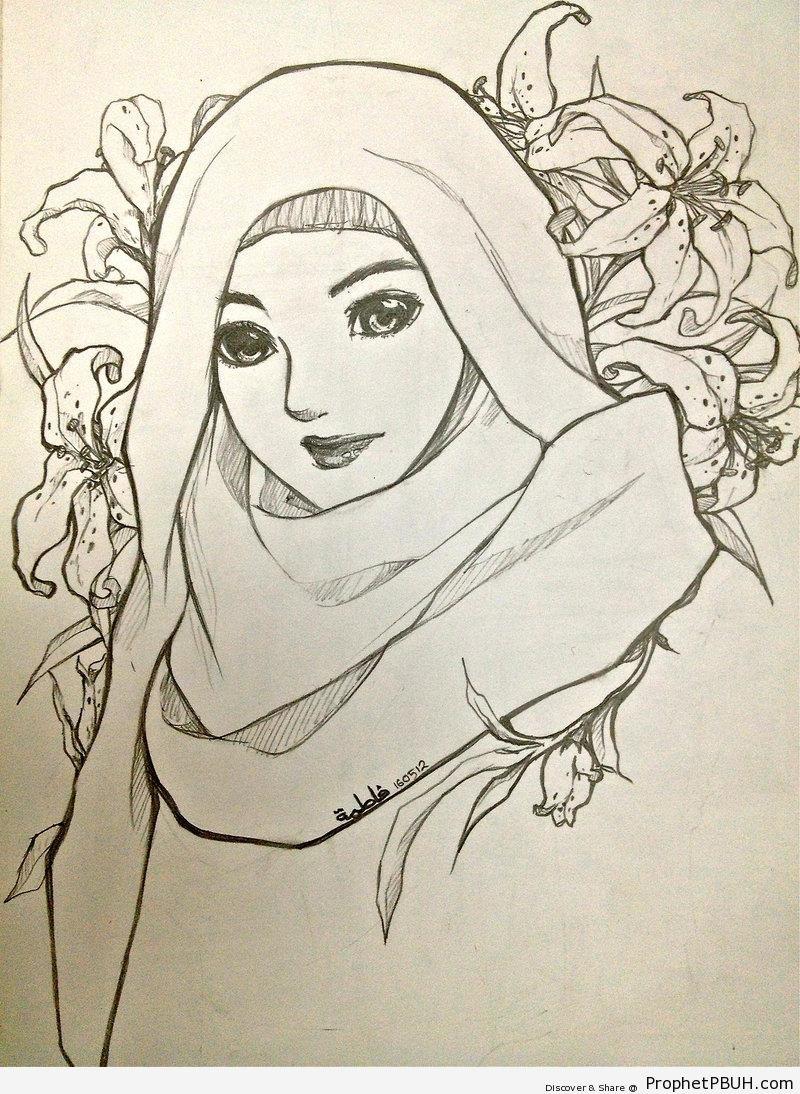 800x1094 Pencil Drawings In Muslim Girl Image Pencil Drawing Of Muslim