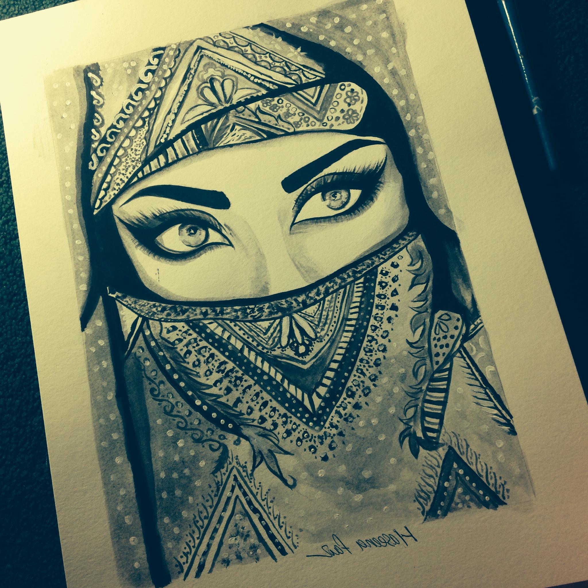 2048x2048 Pencil Sketch Hijab Girl Eyes Realistic Pencil Drawing