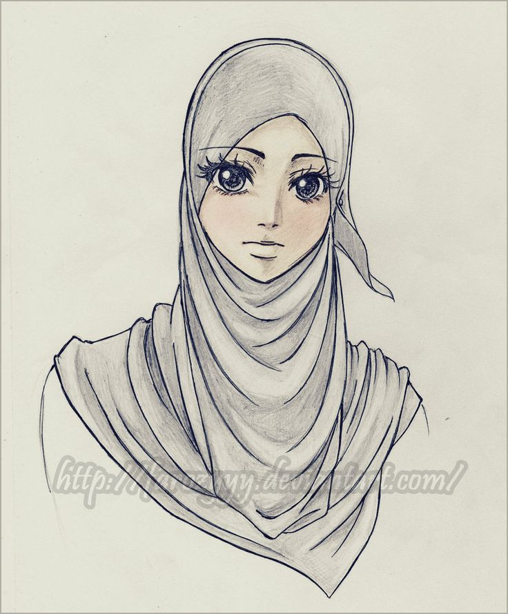 736x890 pictures beautiful hijab woman realistic sketch drawing