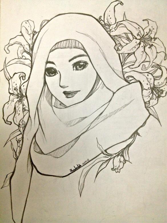 585x780 Hijabi Muslimah Drawing Pencil Beautiful Hijabies Arts