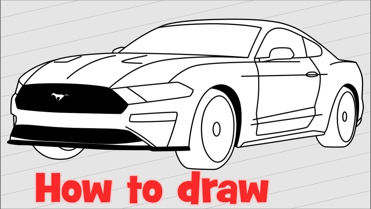 1280x720 How To Draw A Car Ford Mustang Shelby Gt500 2018
