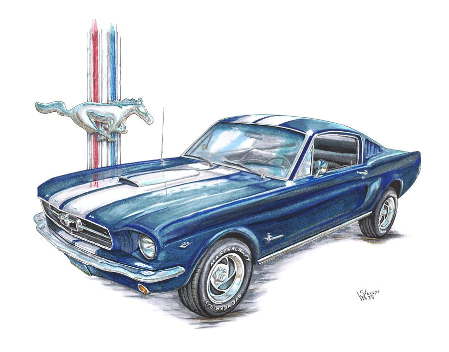 900x706 1965 Ford Mustang Drawing By Shannon Watts
