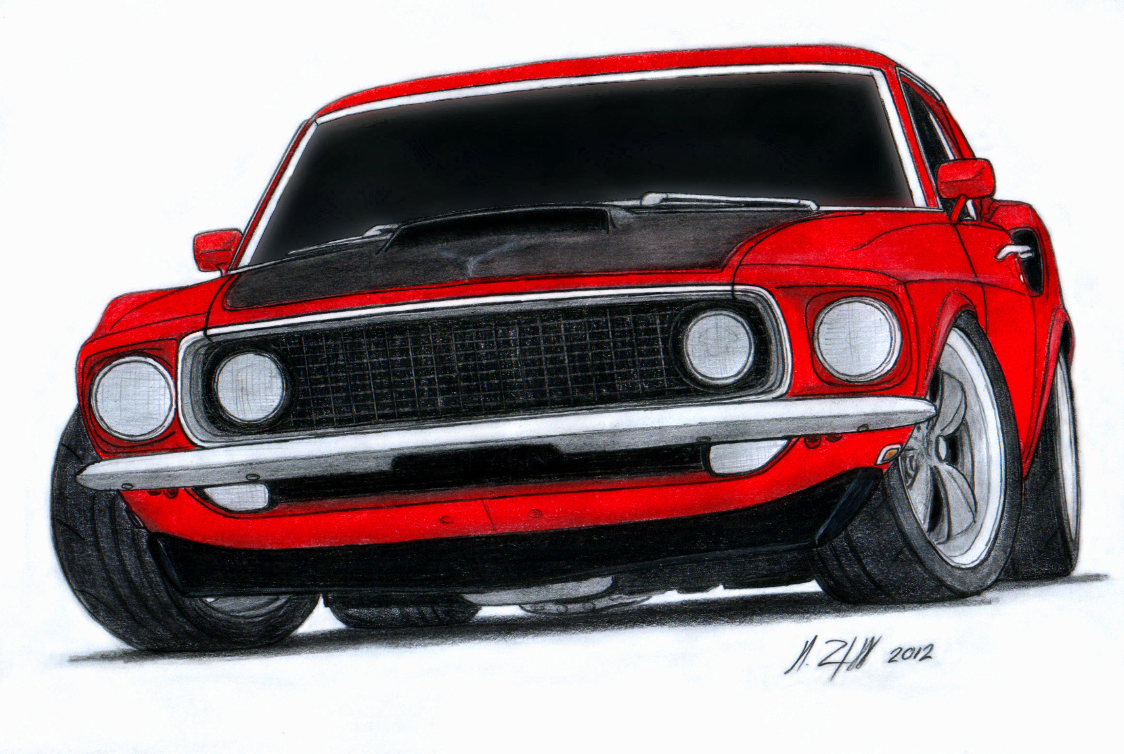 2317x1556 1969 Ford Mustang Boss 520 Pro Touring Drawing By Vertualissimo