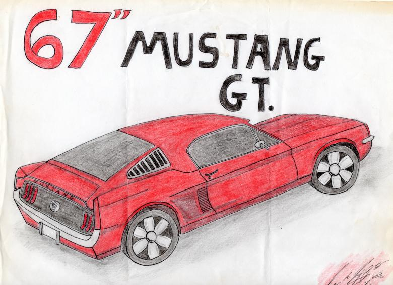 780x567 67 Ford Mustang Drawing