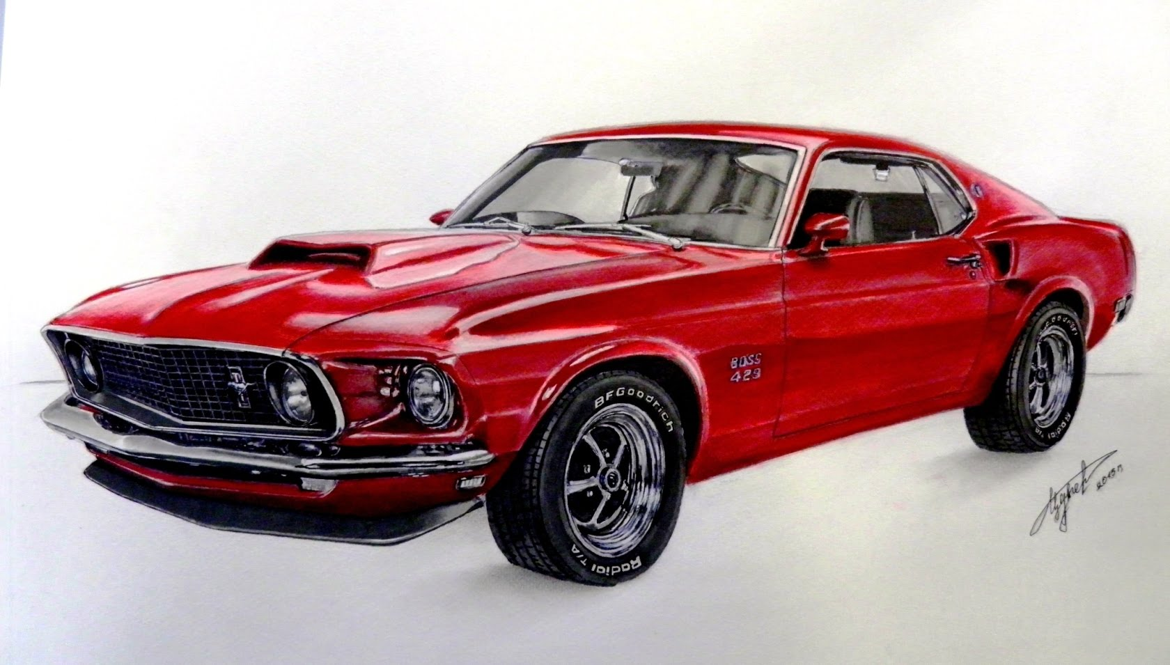 1680x955 Drawing Ford Mustang 1969