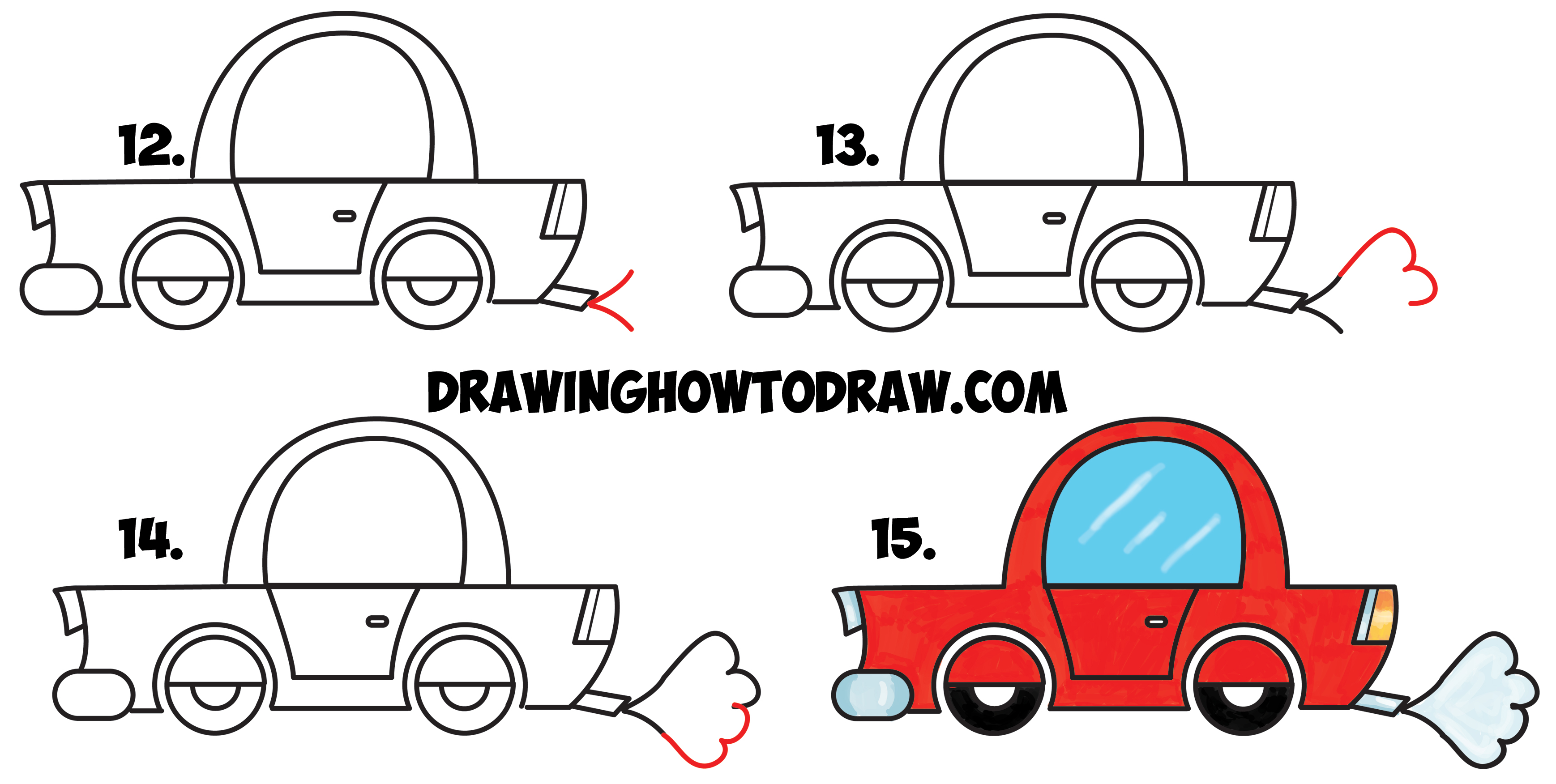 3476x1752 How To Draw A Cartoon Car From Lowercase Letter E Shapes