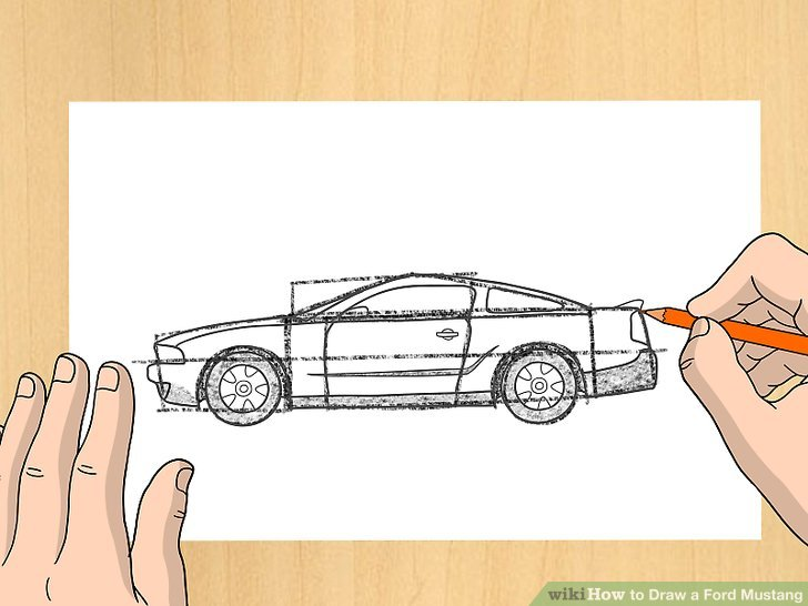 728x546 How To Draw A Ford Mustang 9 Steps (With Pictures)