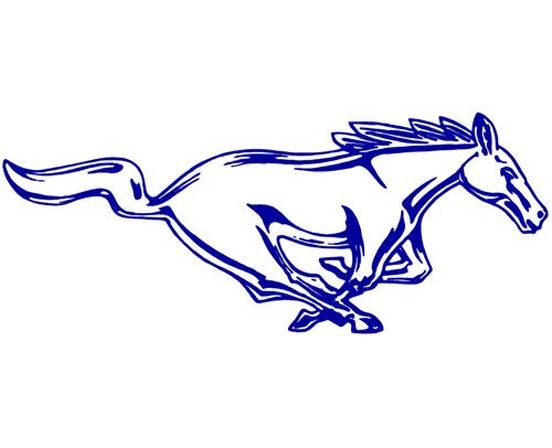 500x406 Mustang 12 Running Pony Decal Rh Blue