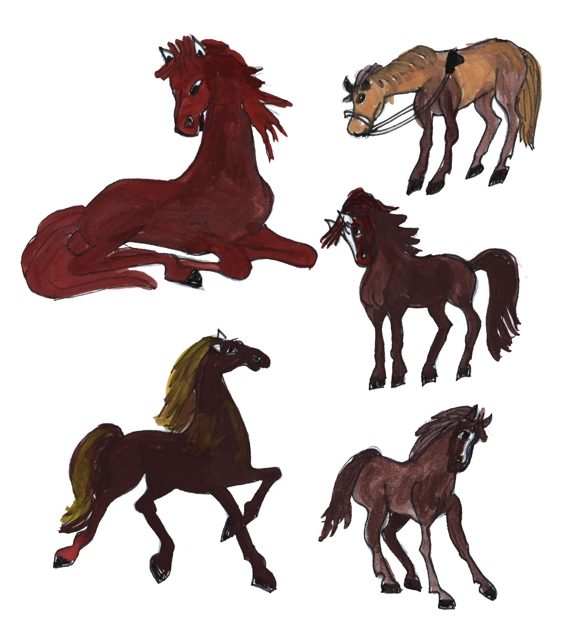 1977x2160 5 Horse Drawing (Png Transparent)