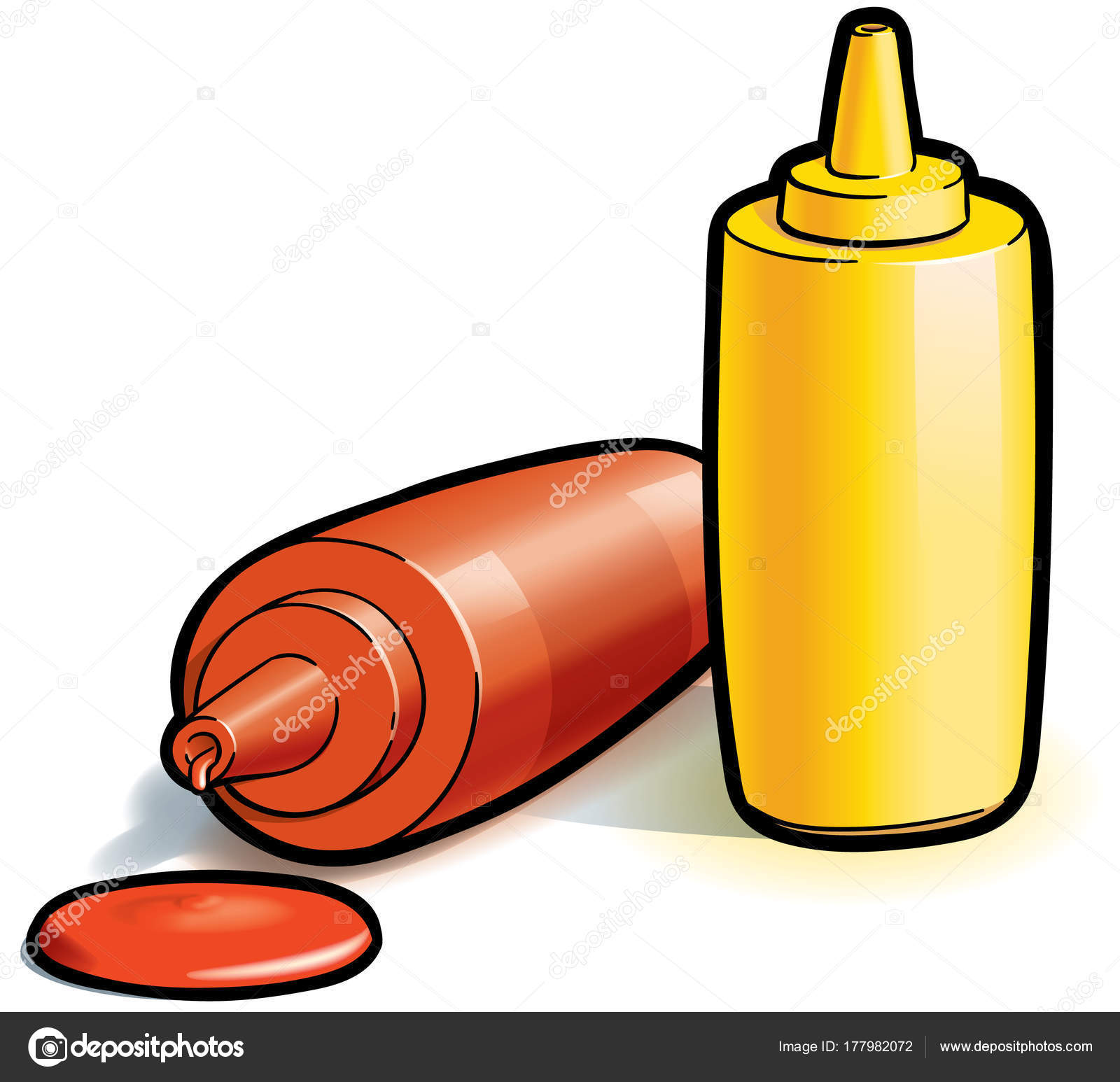 1600x1546 Colourful Drawing Ketchup Mustard Bottles White Background