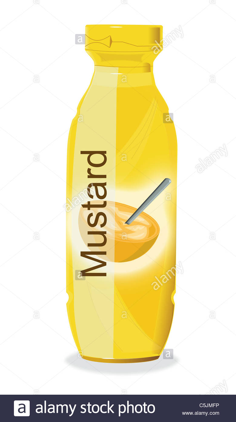 779x1390 Drawing Of A Bottle Of Mustard Stock Photo, Royalty Free Image