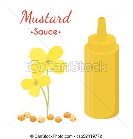 450x470 Mustard Sauce Bottle, Yellow Spicy Condiment. Cartoon Flat
