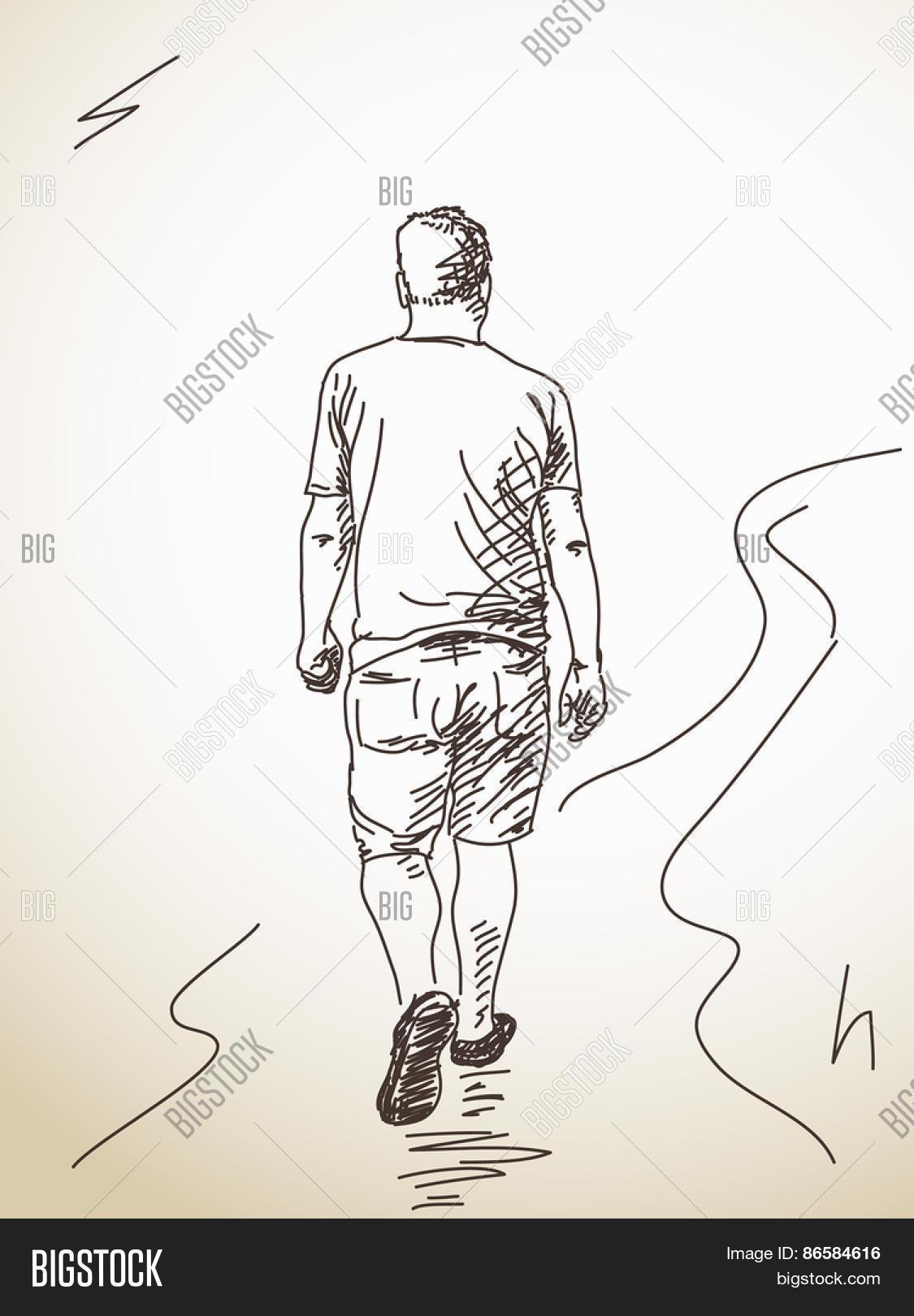 1125x1620 Drawing Of A Man Walking Sketch Walking Man Back Hand Drawn Vector